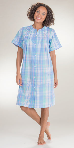 Miss Elaine Short Seersucker Snap Front Robe in Blue Green Plaid