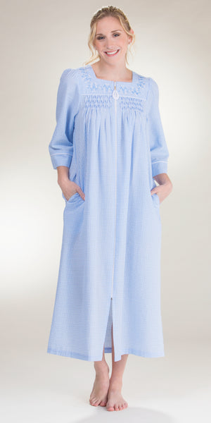 Miss Elaine Seersucker Long Zip Front Smocked Robe in Blue Stripe