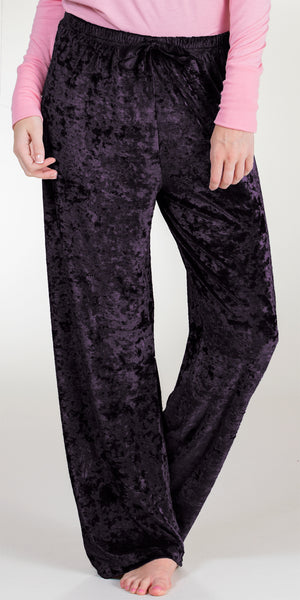 Body Touch Poly Spandex Crushed Velour Lounging Pants in Assorted Colors