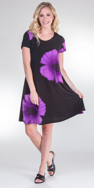Pretty Woman A-Line Short Sleeve Dress in Purple Botanical