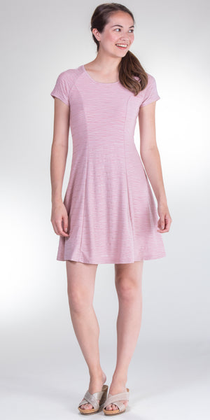 Neesha Cap Sleeve Poly Blend Textured Skater Dress in Pink