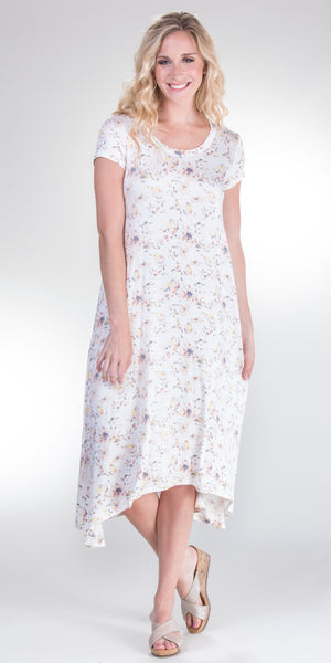 DownEast Rayon Cap Sleeve Dress - Country Floral