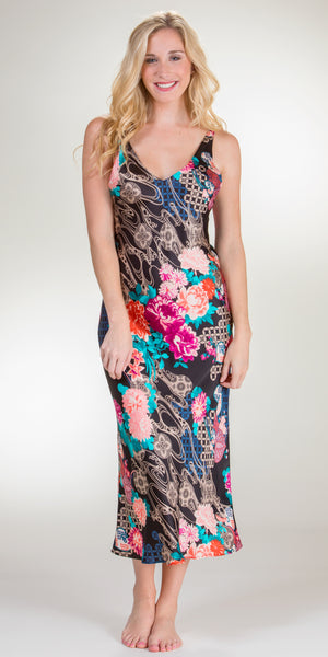 Natori Sleeveless Poly Charmeuse Long Adjustable Gown in Floral Dreams