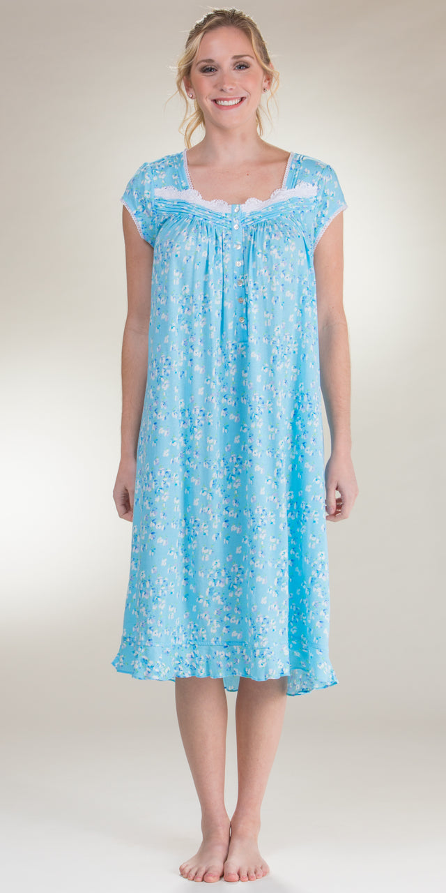 Eileen West Cotton Modal Knit Cap Sleeve Nightgown in Daydream Sky