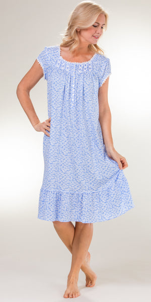 Eileen West Short Cotton Knit Short Sleeve Nightgown in Demure Daisy