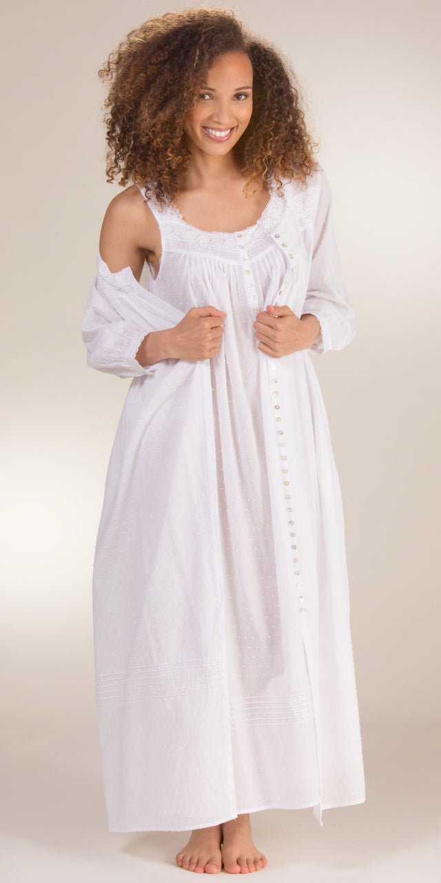 Eileen West Peignoir Set - Swiss Dot Gown And Robe In White Cantata ...