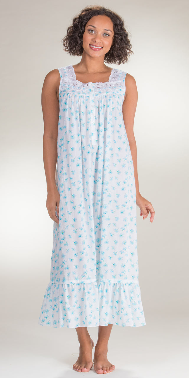 Eileen West Sleeveless Eyelet Trim Cotton Nightgown in Water Blossom