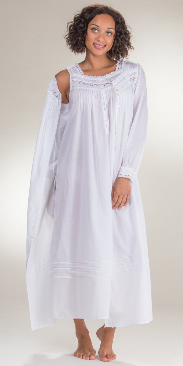 Eileen West Peignoir Set - White Cotton Gown & Robe in Magnolia
