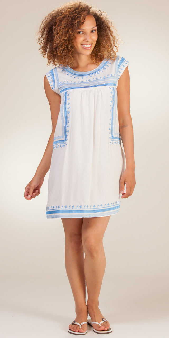 Highness Short Embroidered Rayon Beach Dress