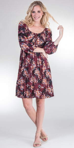 Nostalgia 3/4 Sleeve Crinkle Rayon Dress in Maroon Floral