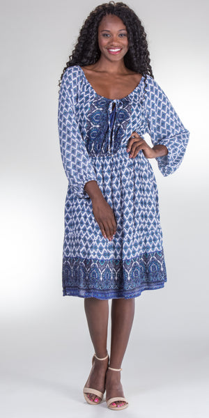 Nostalgia Long Sleeve Rayon Peasant Dress in Bohemian Blue