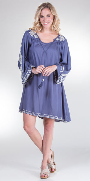 Nostalgia 100% Rayon Bell Sleeve Dress in Slate Blue