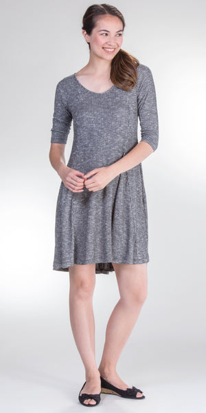 Nostalgia Ribbed Long Sleeve Skater Dress in Charcoal