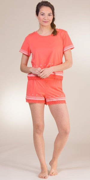 Kensie Short Sleeve Top & Boxer Cotton-Rich Pajama Set