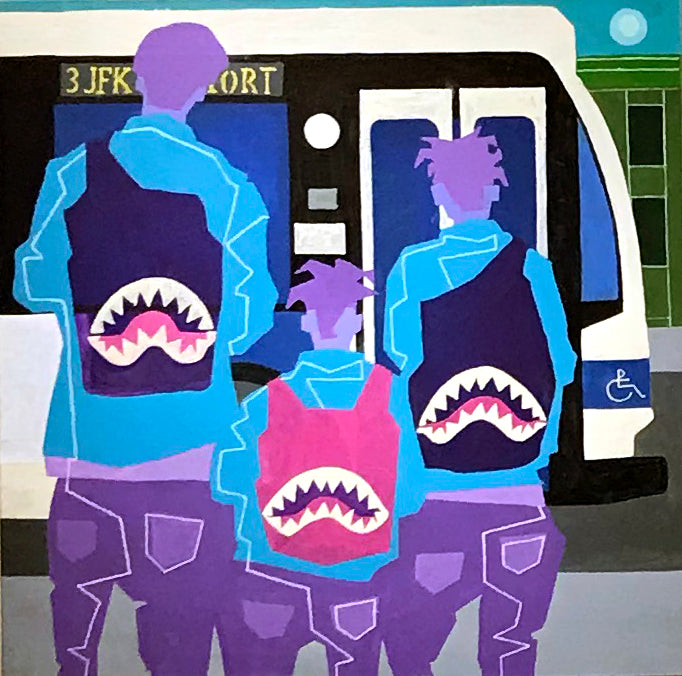 Teenagers at Bus Stop, 2019