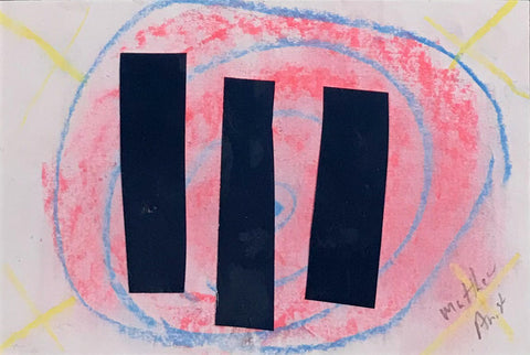 Untitled (pink with 3 blue lines)