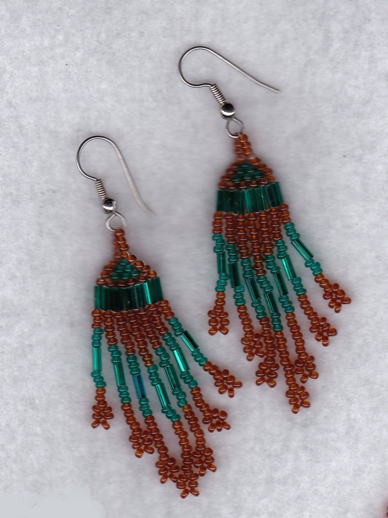 Beaded Earrings (amber and turquoise)