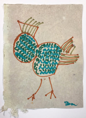 The rooster sings the same song each morning. (rooster in blue and green)