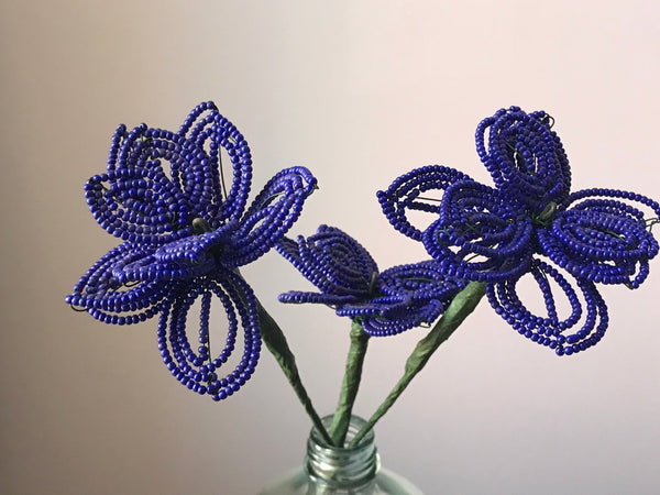 Beaded flowers (ultra violet 3)