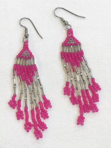 Beaded Earrings (hot pink)