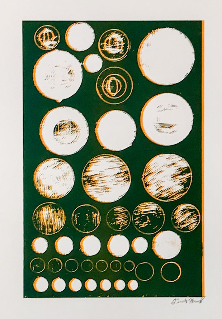 Untitled (circles deep green with orange)