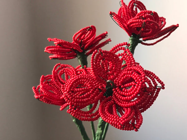 Beaded flowers (red 5)