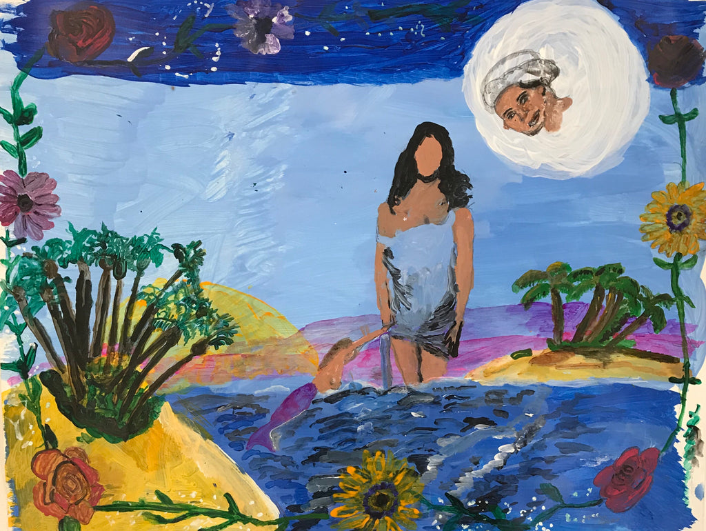 A painting of faceless goddess Yemaya standing in water facing forward towards the viewer. A mermaid reaches up to her from the water below her. The goddess is surrounded by water, sand, plants and flowers with blue sky in the background. The goddess' face is reflected in the moon above the goddess.  Each side of the painting has vines of flowers.