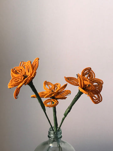 Beaded flowers (tangerine 3)