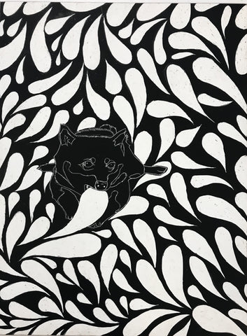 A drawing created by scratching into a board with black ink and a white undercoat.  A small dog appears to be eating a leaf while surrounded by a pattern of leaves of different sizes on all sides of the dog.