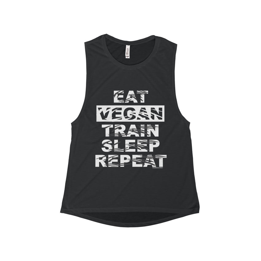 Eat Sleep Vegan Flowy Scoop Muscle Tank