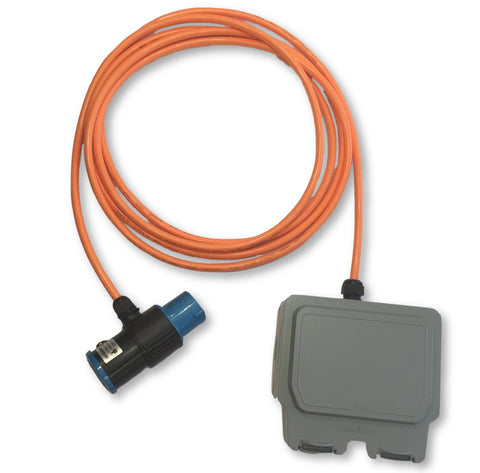 16A 230v Caravan hook up in-line T adaptor orange rubber H07BQ-F