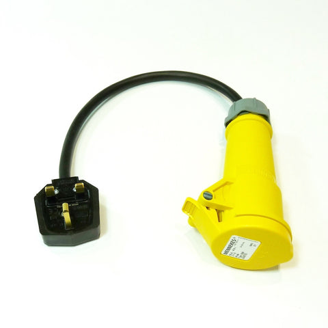 Heavy duty portable appliance testing PAT adaptor 110v 16A socket