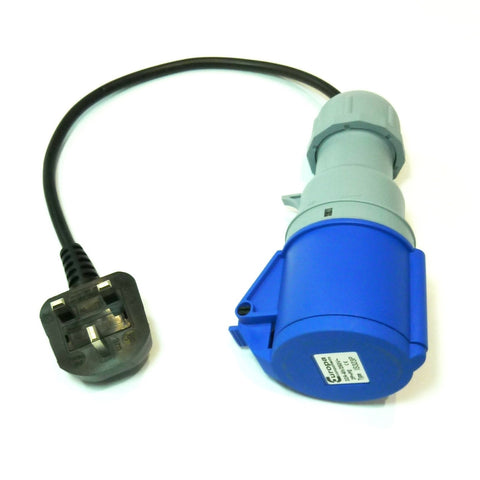 Portable appliance testing (PAT) adaptor 13A plug to 230v 32A socket