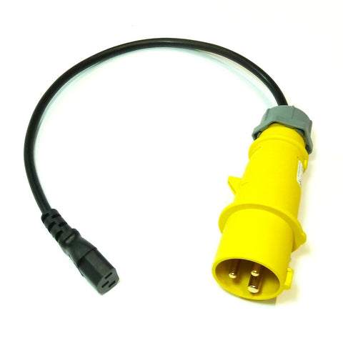 Portable appliance testing (PAT) extension lead adaptor 110v 16A plug to IEC socket