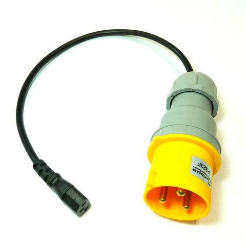 Portable appliance testing (PAT) extension lead adaptor 110v 32A plug to IEC socket