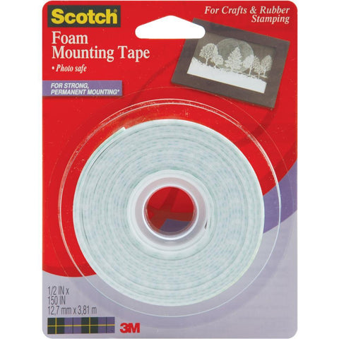 Scotch Foam Mounting Tape-1/2""