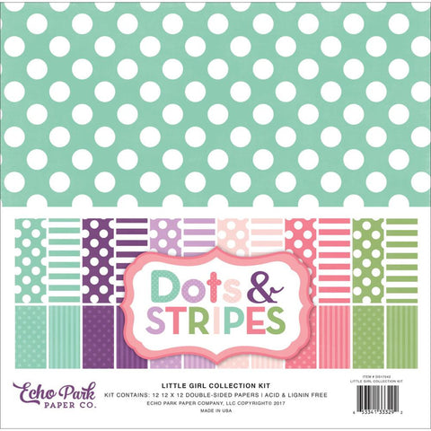 Echo Park Dots & Stripes-Little Girl-12x12 Collection Kit