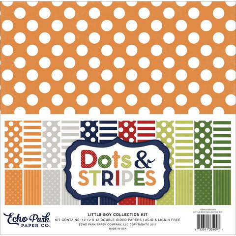 Echo Park Dots & Stripes-Little Boy-12x12 Collection Kit