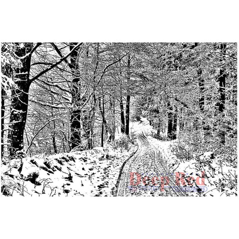 Deep Red - Snowy Path, Cling Stamp