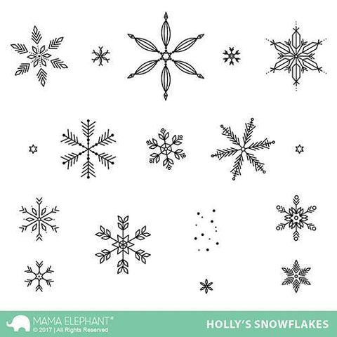 Mama Elephant Stamp Set-Holly's Snowflakes