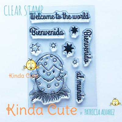 Kinda Cute by Patricia Alvarez-Clear Stamp Bilingual Little Bird New Baby