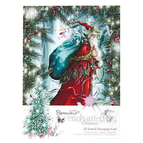 Docrafts A5 Framed Decoupage Card-Enchanted Christmas Santa