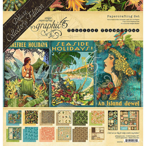 Graphic 45-Deluxe Collectors Addition, Tropical Travelogue