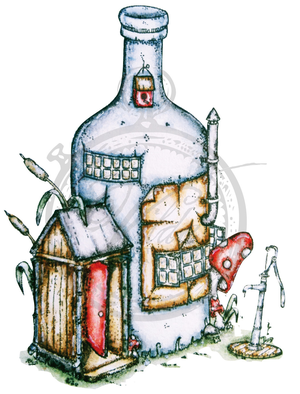 Vilda Stamps Bottle House With Small Garden Pump