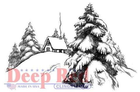 Deep Red - Mountain Cabin, Cling Stamp