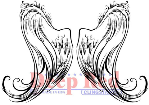 Deep Red - Angel Wings, Cling Stamp