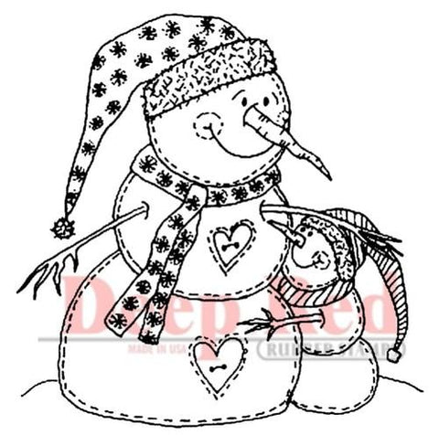 Deep Red - Snowman Hugs, Cling Stamp
