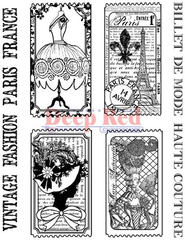 Deep Red - Fashion Tickets, Cling Stamp