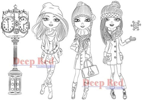 Deep Red - City Girls Winter Time, Cling Stamp