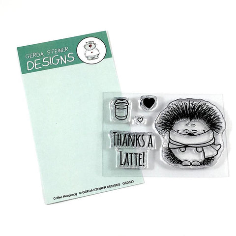 Gerda Steiner Designs - Hedgehog with Coffee, Stamp Set